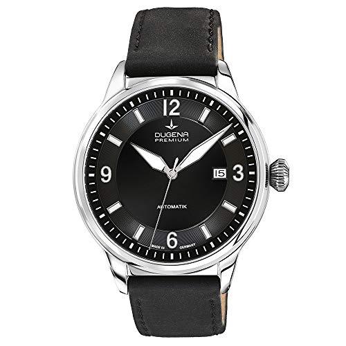 Dugena Herren Automatik-Armbanduhr, Saphirglas, Uhrwerk mit 24 Steinen, Kappa 1, Schwarz/Silber, 7000300