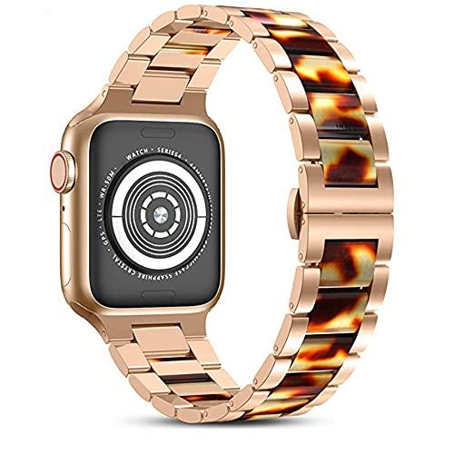 CHENPENG Harz Edelstahl Armbänder Kompatibel mit Apple Watch 1/2/3/4/5/6 Damen Herren Metall Link Armbänder Armband mit zentralem Harz Ersatz Armband,C,38MM