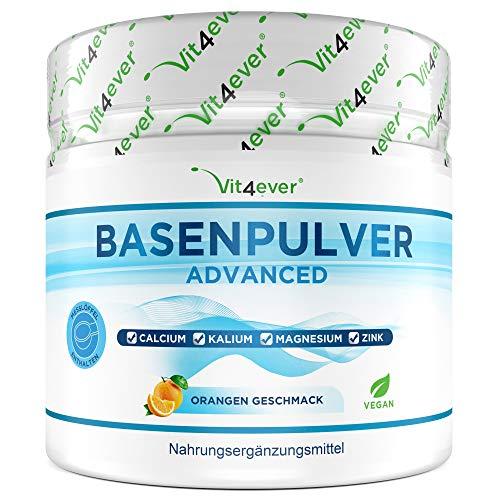 Basenpulver - 360 g (72 Portionen) - 100% Basencitrate - Extra hochdosiert: Mit Magnesium, Zink, Kalium, Calcium - Basenfasten - Mit Orangen Geschmack - Vegan