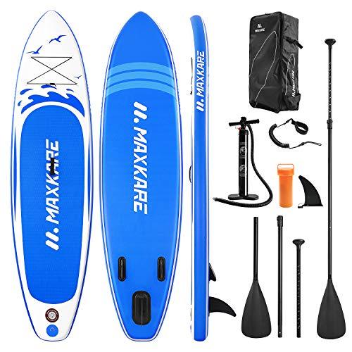 MaxKare Stand Up Paddling Board Aufblasbares 305*76*15 cm SUP Board Set Aufblasbar 6 Zoll Dick 150KG Paddle Surfboard Stabiles Leichtgewicht Komplettes Zubehör Paddel Hochdruck-Pumpe Rucksack