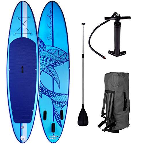 SUP Board Stand up Paddle Paddling Surfboard Shark Blau 320x76x15cm aufblasbar Alu-Paddel Hochdruck-Pumpe Transportrucksack 130KG Tragkraft
