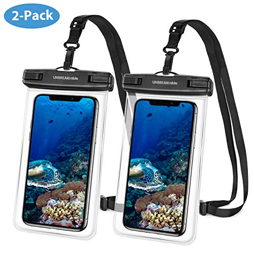UNBREAKcable wasserdichte Handyhülle - (2 Stück) bis zu 6,6 Zoll IPX8 Waterproof Phone Case, Wasserschutzhülle Urlaub, Schwimmen, Baden für iPhone 11 Pro Max/iPhone SE/Huawei/Samsung - Transparent