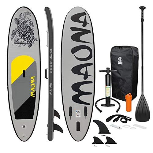 ECD Germany Aufblasbares Stand Up Paddle Board Maona | 308 x 76 x 10 cm | Grau | PVC | bis 120kg | Pumpe Tragetasche Zubehör | SUP Board Paddling Board Paddelboard Surfboard | Verschiedene Modelle