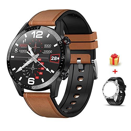Voigoo Smartwatch(2021 neu) 1.3' Touch Screen Herren Damen Intelligente Uhren Sport   Bluetooth-Anruf   EKG-Überwachung Tracker Pulsuhr Schrittzähler Blutdruckmessung IP68 Wasserdicht für Android iOS