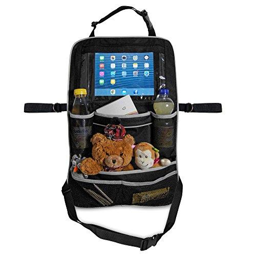 Premium-Rücksitztasche fürs Auto mit Tablett-Fach | Rücksitz-Organizer perfekt für Kinder | Geräumige Rücklehnentasche für Reise-Utensilien & Spielzeug | Abwaschbarer Rücklehnenschutz (Einzel)