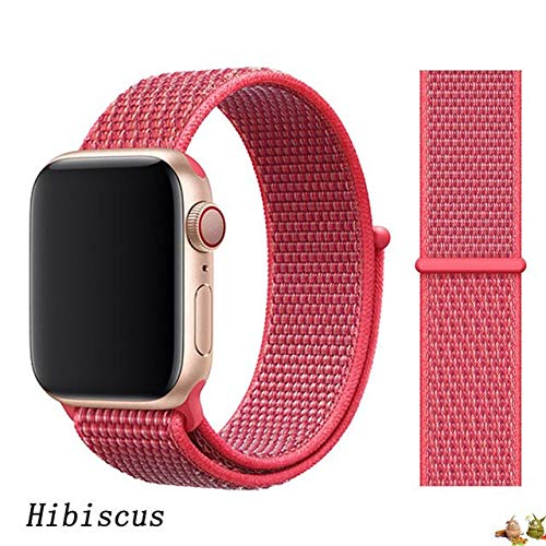 Stoffe-Monster Apple Watch Armband Sport Loop Product Hibiscus Rot 38mm / 40mm