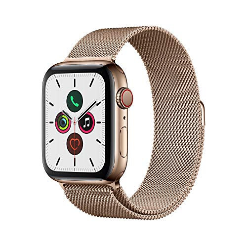 Apple Watch Series 5 (GPS + Cellular, 44 mm) Edelstahlgehäuse Gold - Milanaise Armband Gold