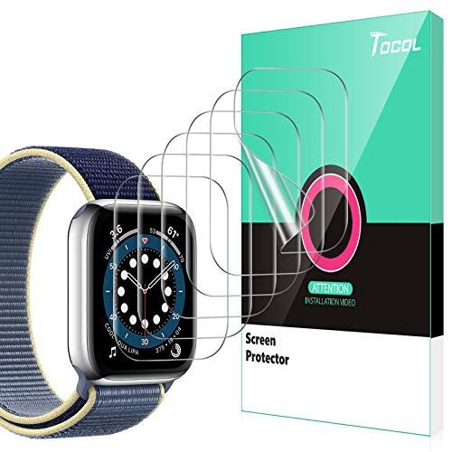 TOCOL 6 Stück Schutzfolie kompatibel mit Apple Watch Series 6 SE 5 4 44mm Series 7 45mm Klar HD Weich TPU Folie Nicht Glas Blasenfreie Kompatibel mit Hülle Displayschutz