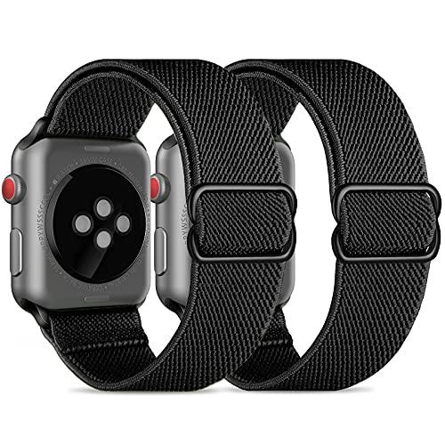 CACOE Kompatibel mit Apple Watch Armband 42mm 44mm, 2 Stücke Sport Elastic Band für Series Nylon Weiches Leichtes Atmungsaktives Wasserdichtes für Series 6/SE/5/4/3/2/1, Schwarz