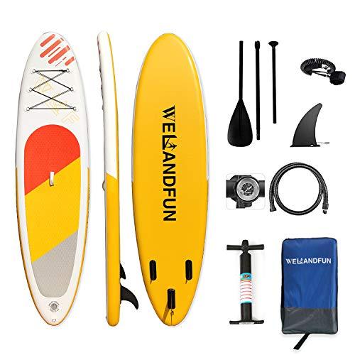 WelandFun Stand Up Paddling Board Aufblasbares SUP Board 6 Zoll dick für alle Schwierigkeitsgrade mit Paddel und komplettem Zubehör
