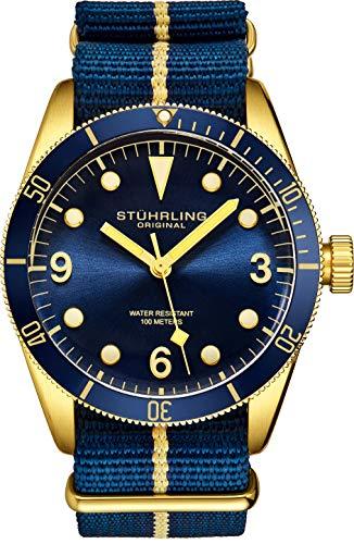 Stuhrling Original Uhren für Herren - Taucheruhr - Herren Sportuhren Wasserdicht Schwarz Armbanduhr bis 100M - Nylon Analoguhr Japanisches Quarzuhrwerk - Herrenuhren Kollektion (Blue)
