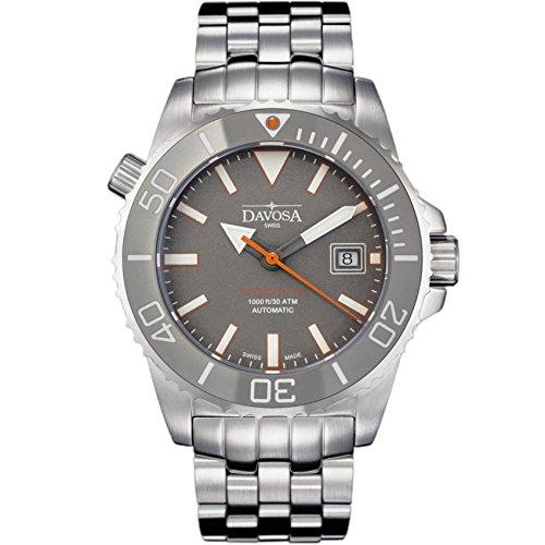Davosa Swiss Automatische Taucheruhr – Luxuriöse analoge Argonautische wasserdichte Sport-Armbanduhr für Herren mit stilvollem Armband Band Silber, Grau, BR1