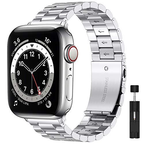 LIWIN Armband Kompatibel mit Apple Watch Armband 42mm 44mm iWatch Series 6 Series 5 Series 4/3/SE/2/1 Metall Armbänder, Edelstahl Metall Ersatz Ersatzbänder Ersatzarmband für Damen&Herren