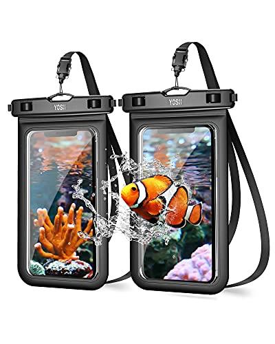 YOSH Wasserdichte Handyhülle 6,8 Zoll mit Verbessertes Verriegelungsdesign Unterwasser Wasserfeste Handy Wasserschutzhülle handytasche fürs iPhone 11 Pro Max XS Max X 8 Samsung A5 S8 Huawei (2 Stücke)