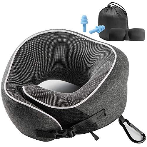 Nackenkissen für die Entspannung zu Hause,Weiche und Bequeme Oberfläche,Wirksam gegen Nackenermüdung, Unimi 2020 Schnallen-Design Reisekissen mit schlafmaske,Karabiner und Luxus-Tasche für Nickerchen