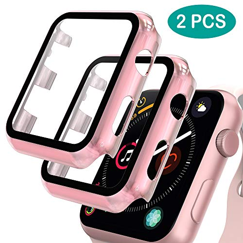 GeeRic 2 Stück Kompatibel mit Apple Watch 38mm Series 3/2/1 Hülle mit Panzerglas Schutzfolie Displayschutz,PC Hülle + Panzerglasfolie Bumper Tempered Glass Screen Protector