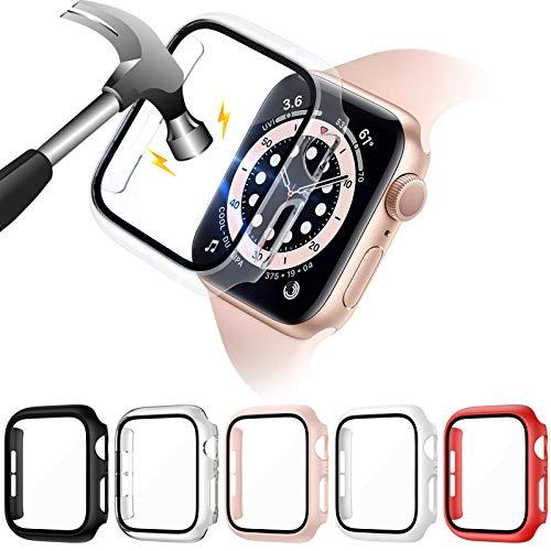 VASG [5 Stück] Glas Hülle Kompatibel mit Apple Watch Series 6/5/4/SE 40mm PC Gehäuse mit Hartglas Displayschutz für iWatch Schutzhülle Voller Ultradünner Puffer(40mm)