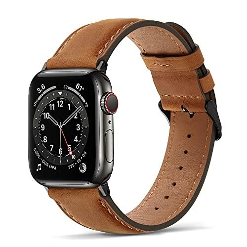 Tasikar Lederarmband Kompatibel mit Apple Watch Armband 42mm 44mm Premium Echte Leder Ersatzarmband kompatibel mit Apple Watch SE Series 6 Series 5/4 (44mm) Series 3/2 / 1 (42mm) - Braun