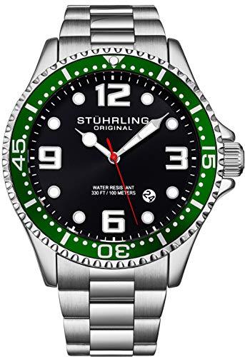 Stuhrling Original Herren Schweizer Quarz Edelstahl Sport Analog Taucheruhr Wasserdicht 200 Meter Schwarz Zifferblatt Aqua-Diver grün