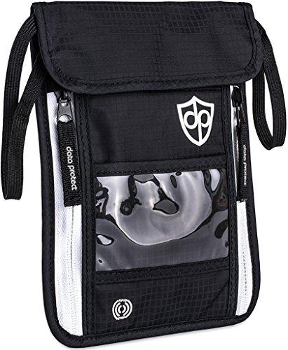 Brustbeutel mit RFID-Schutz für Damen Herren   Leichte Flache Bequeme Brusttasche   Reise-Geldbeutel zum Umhängen für Wertsachen, Reisepass von Data Protect