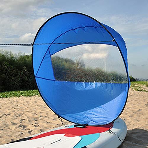 Soldmore7 42 Zoll Faltbare Kajak Downwind Segel, Paddle Board Segel Sup Paddle Board Instant Popup & Easy Setup & schnell bereitstellt, Wind Sail, Kajak Kanu Zubehör(Blue)