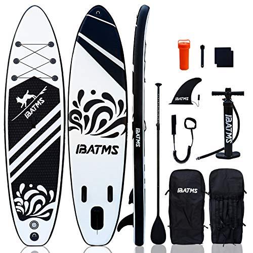 IBATMS aufblasbares Stand Up Paddle Board mit Premium SUP Zubehör & Rucksack,rutschfestes Deck, Sicherheitsfußseil,Flosse,Paddel und Handpumpe,10.5'×31'×6'(320 * 80 * 15cm