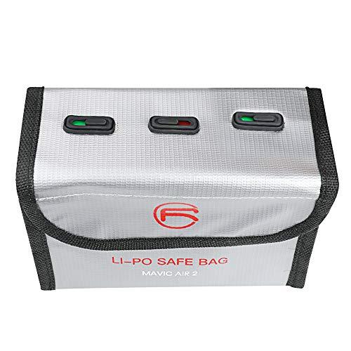 Lipo Battery Bag Fireproof Safe Explosionssicherer für DJI Mavic Air 2 batterien case Zubehör Tragbare Drohne LiPo explosionsgeschützte Tasche Batterie schützende Aufbewahrungstasche (Für 3 Batterien)