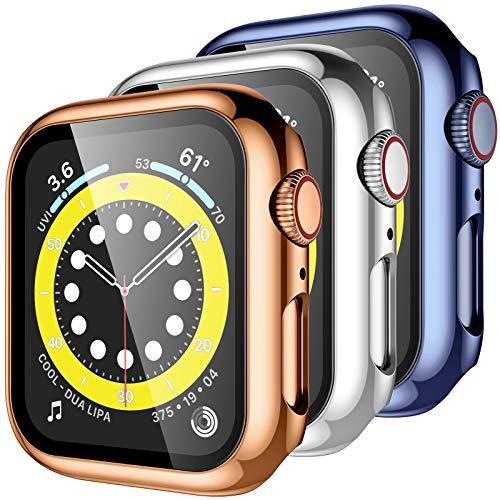 Upeak [3 Stück Hülle mit Schutzfolie Kompatibel mit Apple Watch Series 6/5/4/SE 44mm, Panzerglas Displayschutz 360° Rundum Schutzhülle PC Case für iWatch Series 6/5/4/SE, Roségold/Silber/Blau