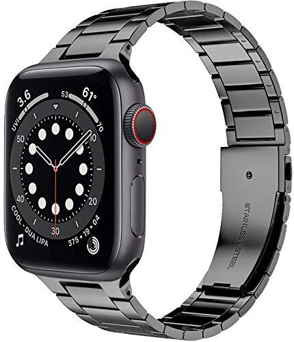 Miimall Kompatibel mit Apple Watch Armband 44mm 42mm, Dünn Prämie Edelstahl Metall Ersatzarmband iWatch Uhrenarmband für Apple Watch SE/Series 6/5/4/3/2/1 44mm 42mm - Grau