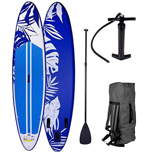 SUP Board Stand up Paddle Fusion Blau 300x76x15cm aufblasbar Double Layer MFL Alu-Paddel Hochdruck-Pumpe Rucksack Kick-Pad 140KG Paddling