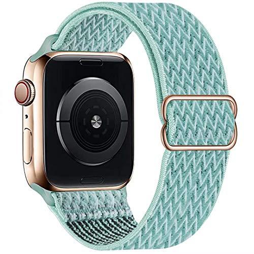 GBPOOT Solo Loop Solo Loop Kompatibel mit Apple Watch Armband 38mm 40mm 42mm 44mm,Nylon Atmungsaktiv Schlaufe Ersatz Sport Armband für IWatch Series 6/SE/5/4/3/2/1,Blaues Meer,38/40mm