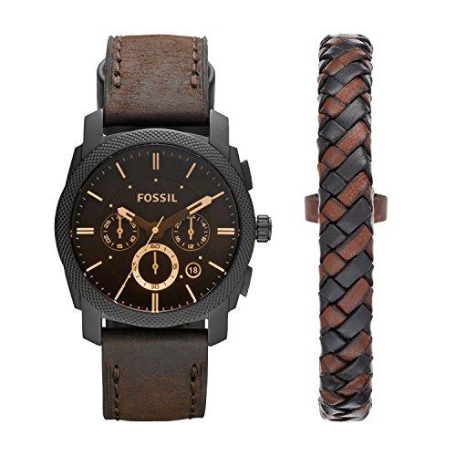 Fossil Herren Chronograph Quarz Uhr mit Leder Armband FS5251SET