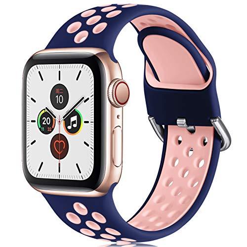 CeMiKa Ersatzarmband Kompatibel mit Apple Watch Armband 38mm 40mm 42mm 44mm, Weichem Silikon Sportarmband Kompatibel mit Apple Watch SE/iWatch Series 6 5 4 3 2 1, 38mm/40mm-S/M, Blau/Rosa