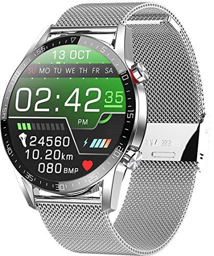 jpantech Smartwatch Voll Touch Screen IP68 Damen Herren Intelligente Uhren Sport   Bluetooth-Anruf   EKG-Überwachung Tracker Pulsuhr Schrittzähler Blutdruckmessung Wasserdicht IOS Android(StahlSilber)