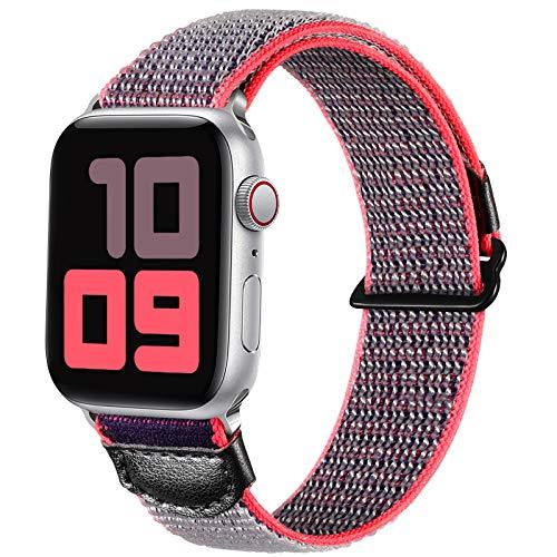 JUVEL Kompatibel mit Apple Watch Armband 44mm 40mm 42mm 38mm, Weiche Nylon Gewebe Sport Schlaufe Ersatz Armbänder Kompatibel mit iWatch Series 6/5/SE/4/3/2/1, 38mm/40mm, Graues Rosa