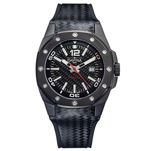 Davosa Swiss Titan 16156255schwarz Herren Armbanduhr aus echtem Leder und Gummi