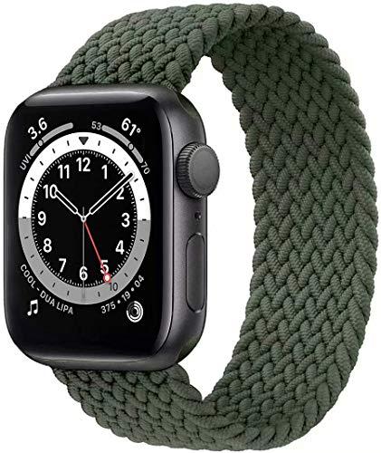 Fengyiyuda Nylon Geflochtenes Solo Loop Kompatibel mit Apple Watch Armband,Sport Elastic Band für Iwatch Series SE/6/5/4/3/2/1,Invernessgrün,38/40mm-8