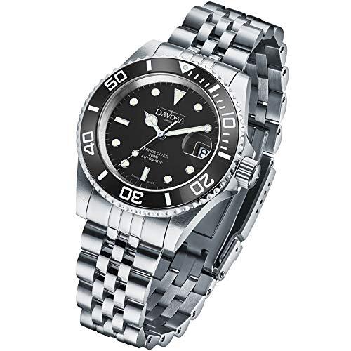 Davosa Ternos Herren-Armbanduhr, Keramik, professionell, automatisch, analog, mit luxuriöser Lünette Schwarz Penta