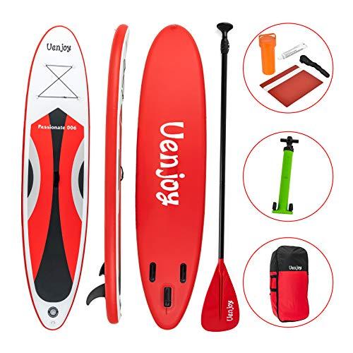 Uenjoy Sup aufblasbares 10'30'x4 rund um das Paddle Board, mit komplettem Zubehör, perfekt für Yoga-Angeln auf Tour , Rot…