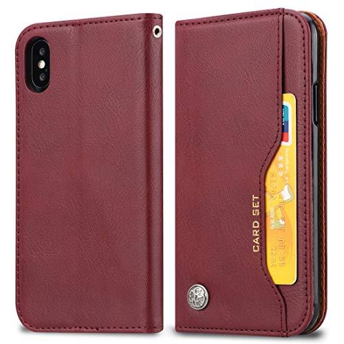 KIOKIOIPO-N Mode Knead Hautbeschaffenheit Horizontal Flip Ledertasche for iPhone XS Max, mit Foto-Rahmen und Halter & Card Slots & Wallet (Color : Wine red)