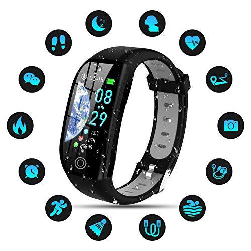 Tipmant Fitness Armband mit Pulsmesser Blutdruckmessung Smartwatch Fitness Tracker Wasserdicht IP68 Fitness Uhr Schrittzähler Pulsuhr Sportuhr für Damen Herren Kinder ios iPhone Android Handy Schwarz