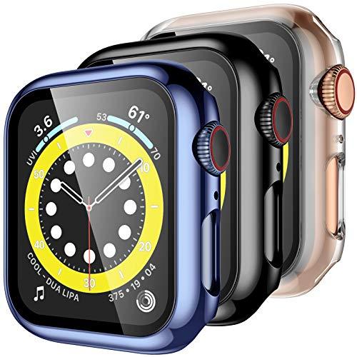 Upeak [3 Stück Hülle mit Schutzfolie Kompatibel mit Apple Watch Series 6/5/4/SE 44mm, Panzerglas Displayschutz 360° Rundum Schutzhülle PC Case für iWatch Series 6/5/4/SE, Klar/Schwarz/Blau