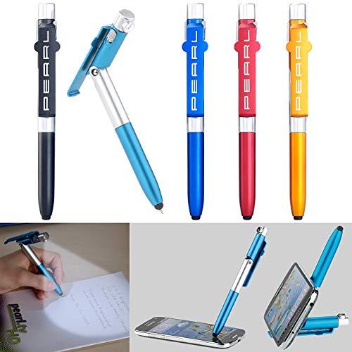 PEARL Kugelschreiber mit Licht: 4in1-Kugelschreiber mit LED-Lampe, Touchpen und Handy-Ständer, 5er-Set (Kugelschreiber mit Beleuchtung)