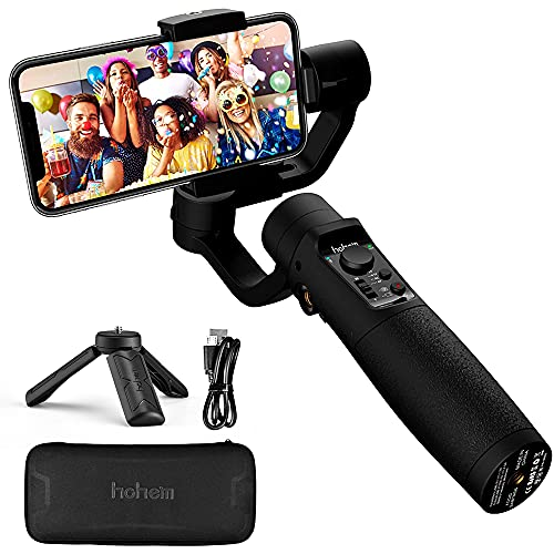Smartphone Gimbal Stabiliser – Hohem 3-Axis Gimbal Stabiliser with Sports Mode, Smart Tracking, Time Lapse, 3600 mAh Battery, Waterproof for iPhone 12/11/XR, Samsung, Huawei Jusqu'à 280g;Contrôle APP