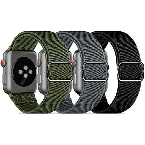 CACOE kompatibel mit Apple Watch Armband 44mm 42mm für Damen Herren, Nylon Stoff Schlaufe Ersatzarmband Sport Band für iWatch Series 6/SE/5/4/3/2/1, Schwarz, Grün, Grau
