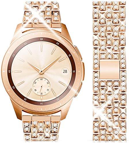 wlooo Diamant Uhrenarmband für Samsung Galaxy Watch 3 41mm/Active 2 40mm 44mm/42mm, Bling Watch Armband Herren Damen Kristall Strass Schmuck Edelstahl Metall Ersatz Uhrenarmbänder (20mm, Roségold)