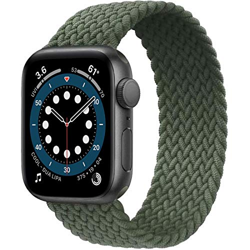 JONWIN Geflochtenes Solo Loop Kompatibel mit Apple Watch Armband,Elastic Nylon Sport Ersatzband für iWatch Serie 6/5/4/3/2/1,SE,Green,9