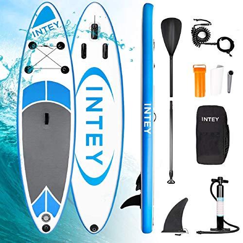 INTEY Aufblasbares SUP Stand Up Paddel Board 305×76×15cm,ISUP Surf Board mit Luftpumpe,Verstellbarem Paddel,Sicherheitsleine,Tragetasche und Reparaturset