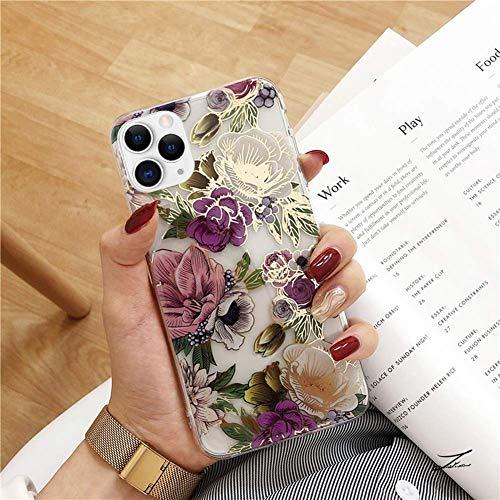 Herbests Kompatibel mit iPhone 11 Pro Max Hülle Silikon mit Motiv Blumen Blätter Glänzend Glitzer Bling Weiche TPU Handyhülle Ultra Dünn Durchsichtige Stoßfest Case Cover,Lila Rose