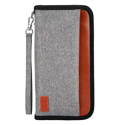 Reisepass Tasche, RFID Blockier Familien Reisebrieftasche Etui Wasserdicht Reiseorganizer Ausweistasche Reisepasshülle Schutzhülle Dokumente Organizer für Pass, Kreditkarten, Flugkarten,Münzen